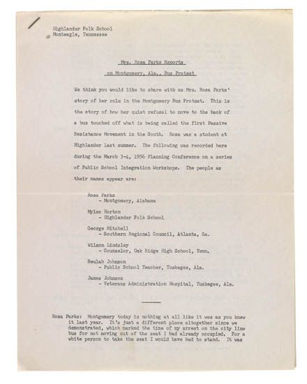 (CIVIL RIGHTS.) PARKS, ROSA. Mrs. Rosa Parks Reports on Montgomery Ala. Bus Protests.