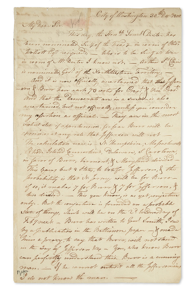 (PRESIDENTS--1800 CAMPAIGN.) Tracy, Uriah. An important letter on the contentious 1800 election.