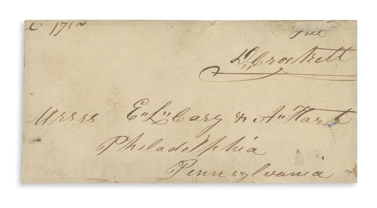 CROCKETT, DAVY. Franking Signature, Free / D. Crockett, on a holograph address panel,