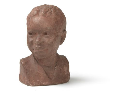 (ART.) SAVAGE, AUGUSTA. Terra cotta bust of a young boy.