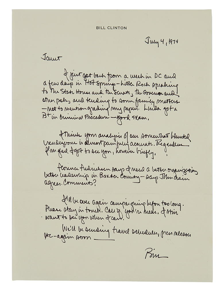 CLINTON, WILLIAM J. (BILL). Archive of 16 items Inscribed and Signed, Bill or Bill Clinton, to journalist for the Baxter Bulletin
