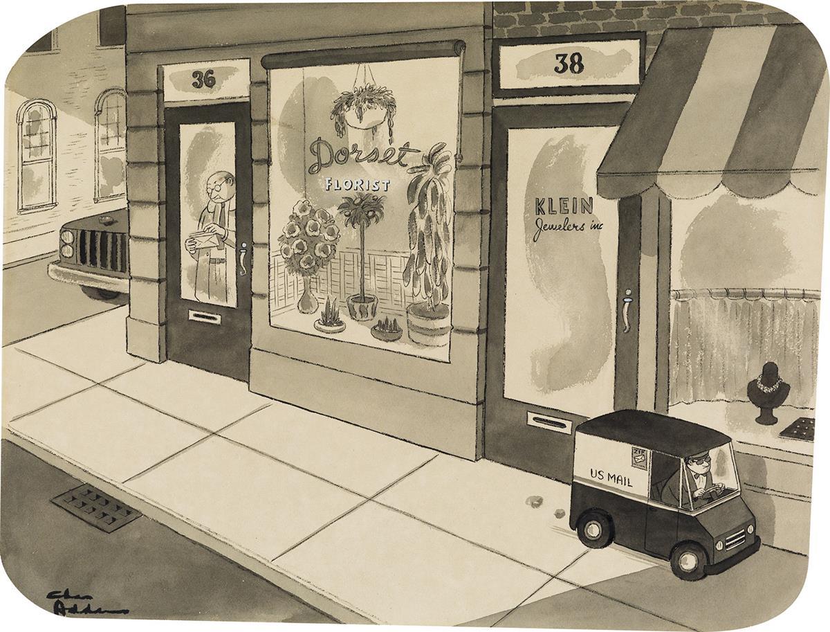CHARLES-ADDAMS-(THE-NEW-YORKER--CARTOON)-Mini-Mail-Truck