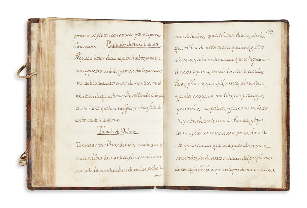 (MEXICAN COOKERY.) An early Mexican manuscript cookbook.