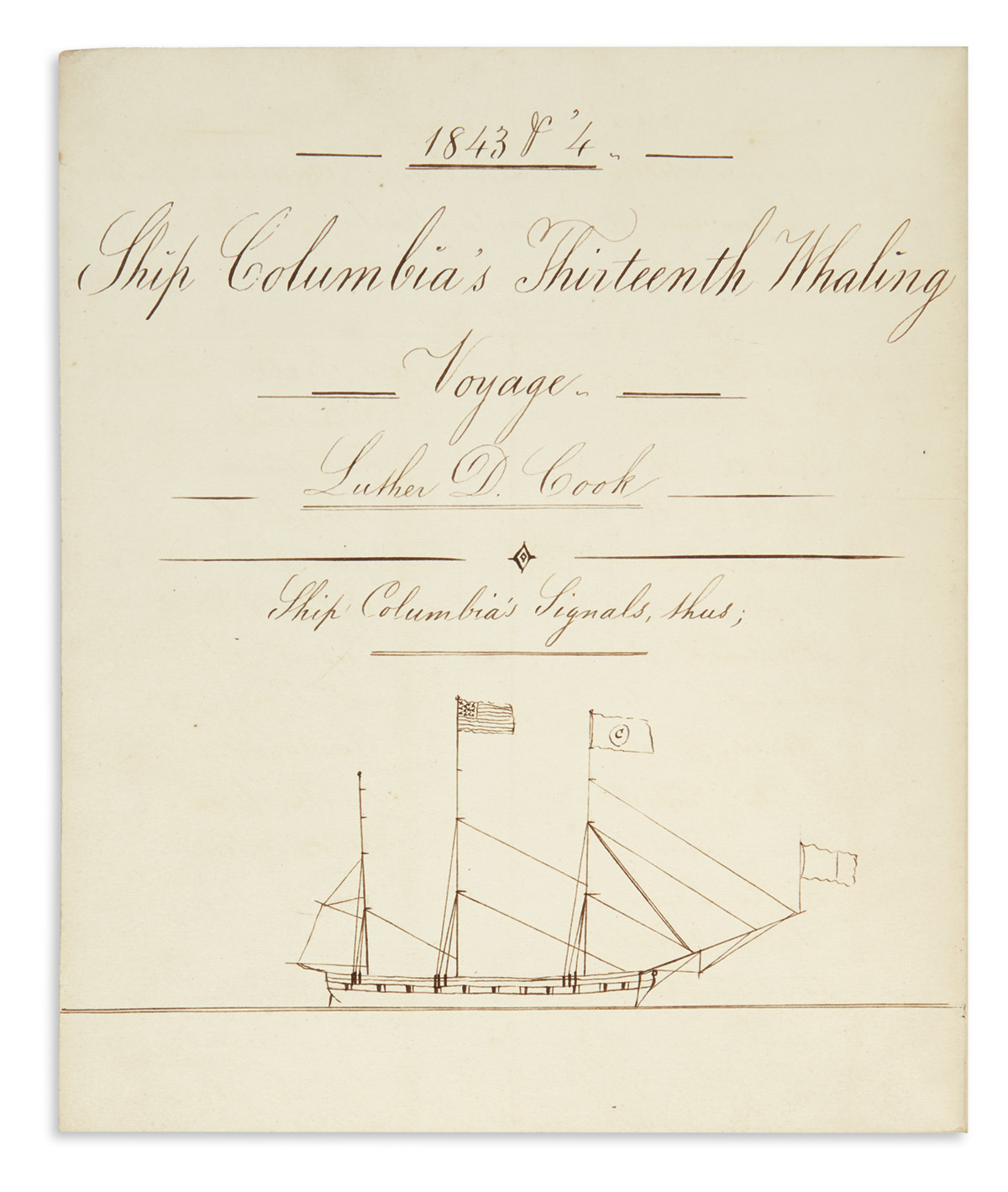 (WHALING.) Record books of Long Island whaling merchant Luther D. Cook.