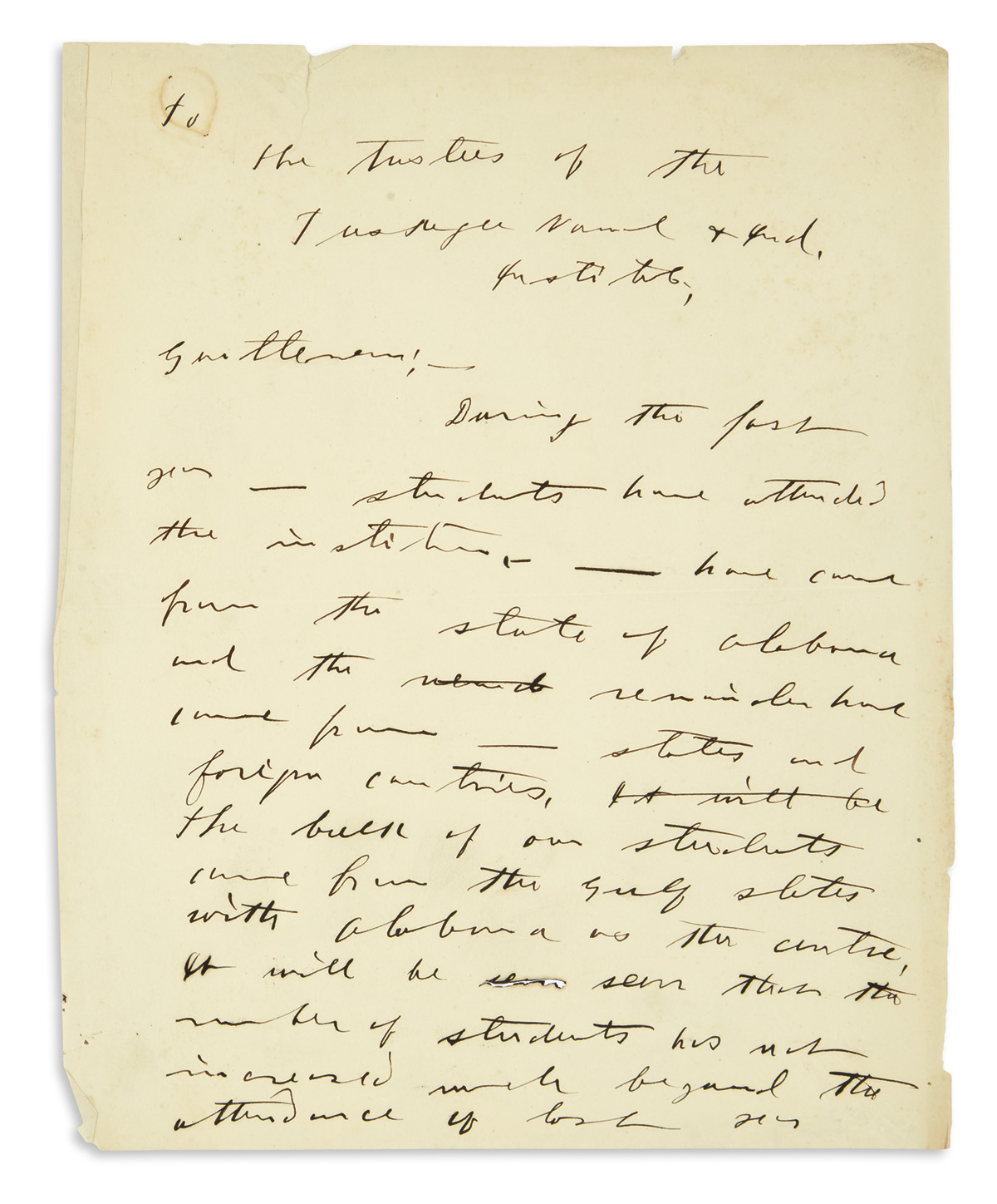 (EDUCATION.) [Washington, Booker T.] Partial manuscript draft of his annual report to the trustees of the Tuskegee Institute.