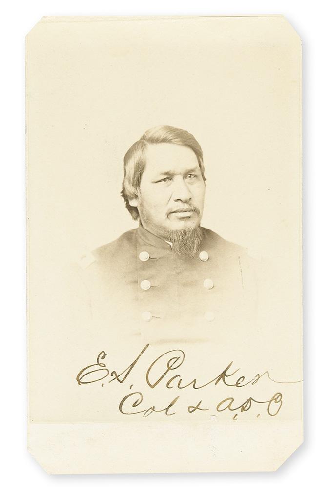 PARKER, ELY SAMUEL. Photograph Signed, E.S. Parker / Col & A.D.C.,