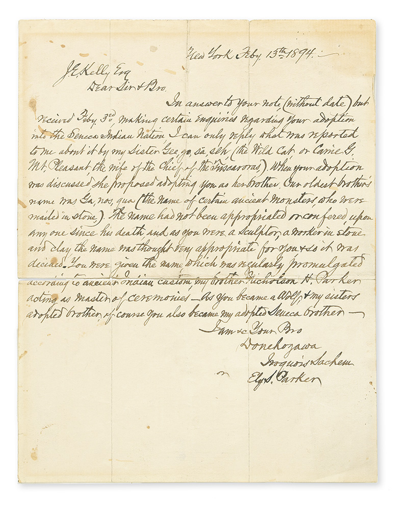 PARKER, ELY SAMUEL. Autograph Letter Signed, Donehogawa / Iroquois Sachem / or Ely S. Parker, to J.E. Kelly (Dear Sir & Bro.),