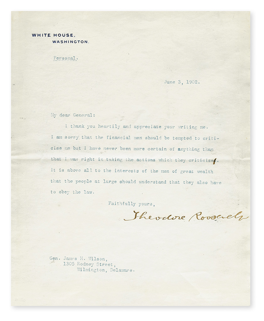 ROOSEVELT, THEODORE. Typed Letter Signed, as President, to General James H. Wilson,