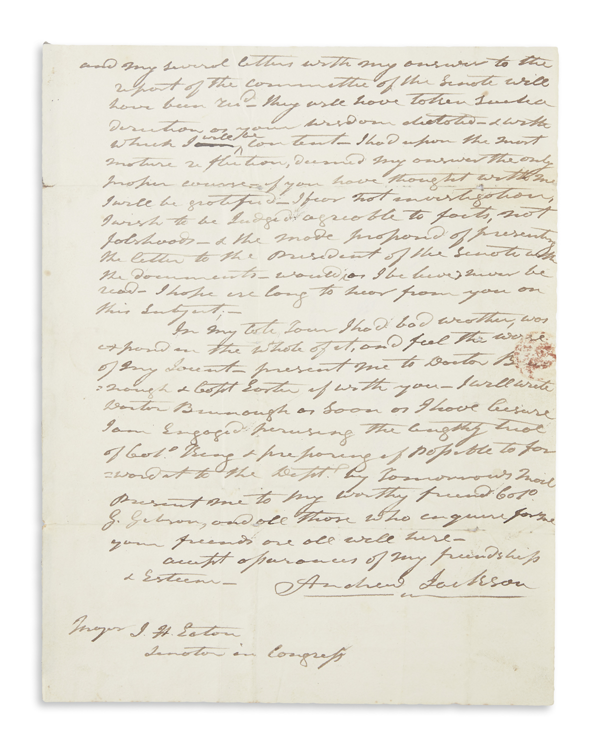JACKSON, ANDREW. Autograph Letter Signed,