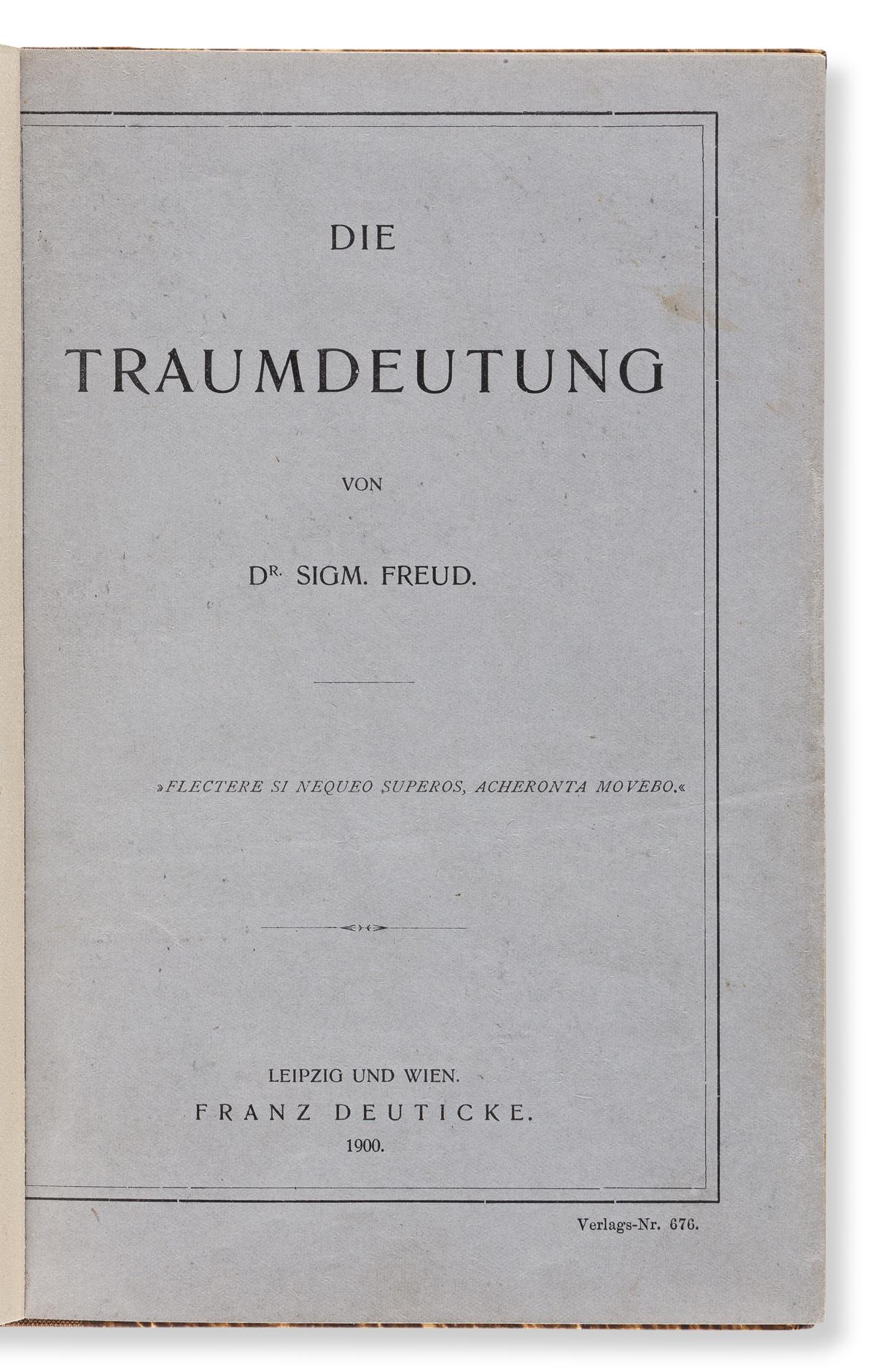 Freud, Sigmund (1856-1939) Die Traumdeutung.