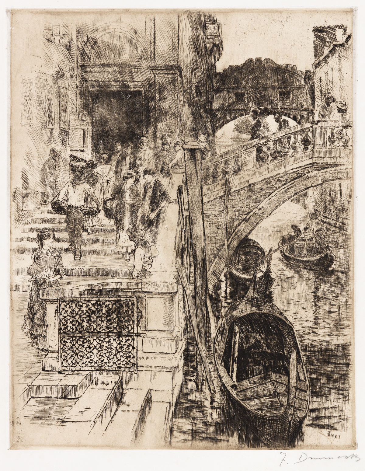 FRANK DUVENECK The Bridge of Sighs, Venice (First Plate).
