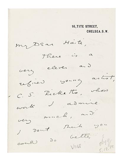 """WILDE, OSCAR. Autograph Letter Signed, to George C. Haité (""""My Dear Haité""""),"""