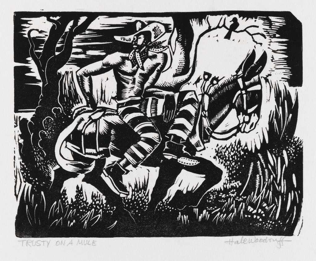HALE WOODRUFF (1900 - 1980) Pair of linoleum cuts.