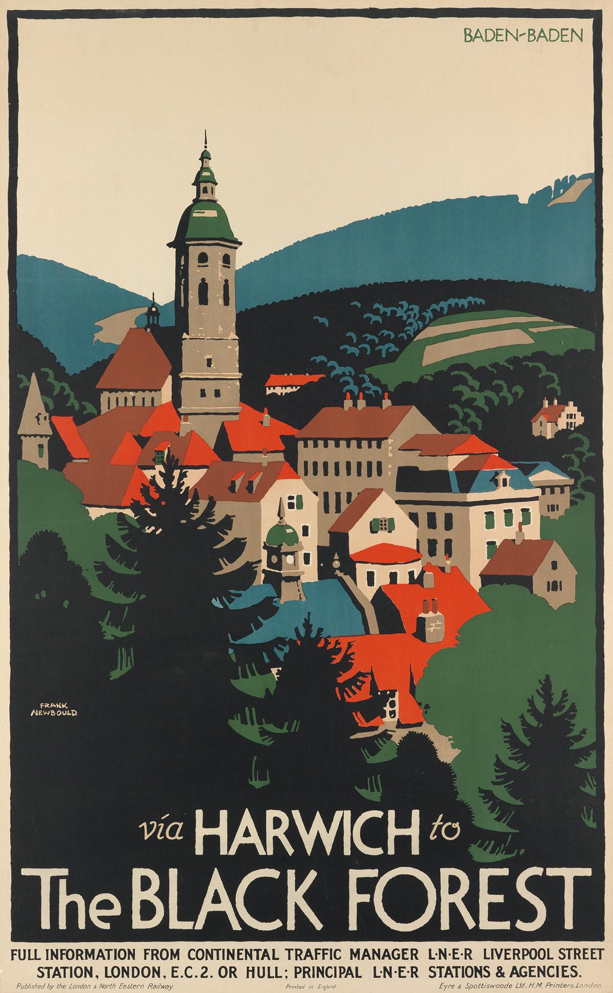 FRANK-NEWBOULD-(1887-1951)-BADEN---BADEN--VIA-HARWICH-TO-THE