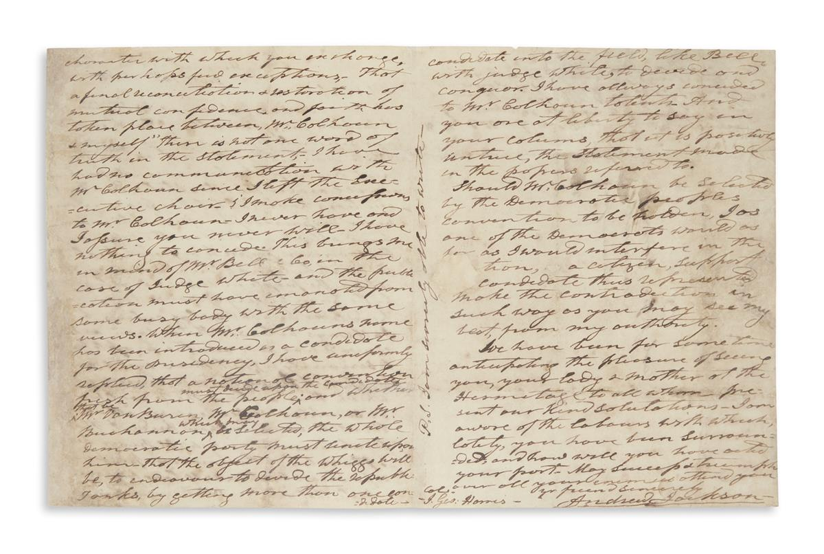 JACKSON, ANDREW. Autograph Letter Signed, twice (in full and A.J.), to editor of the Nashville Union J. George Harris,