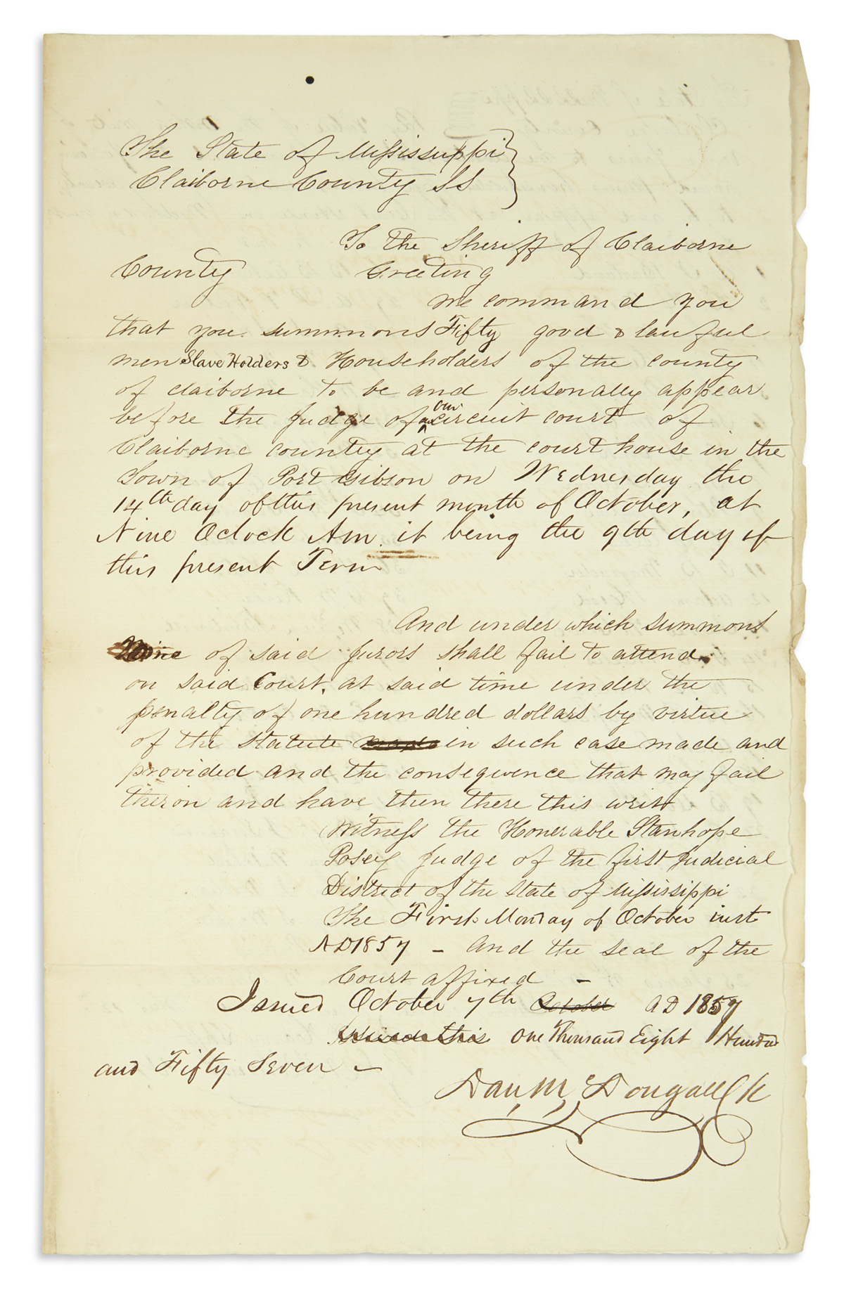 (SLAVERY-AND-ABOLITION)-Summons-for-a-jury-of-50-slave-owners-to-rule-in-a-Mississippi-case-against-a-slave