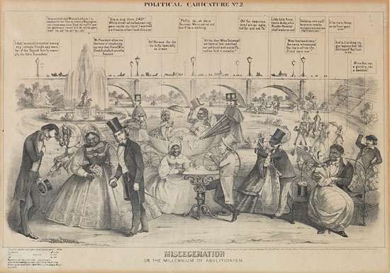 (RACISM--MISCEGENATION.) Miscegenation, or the Millenium of Abolitionism, lithograph.