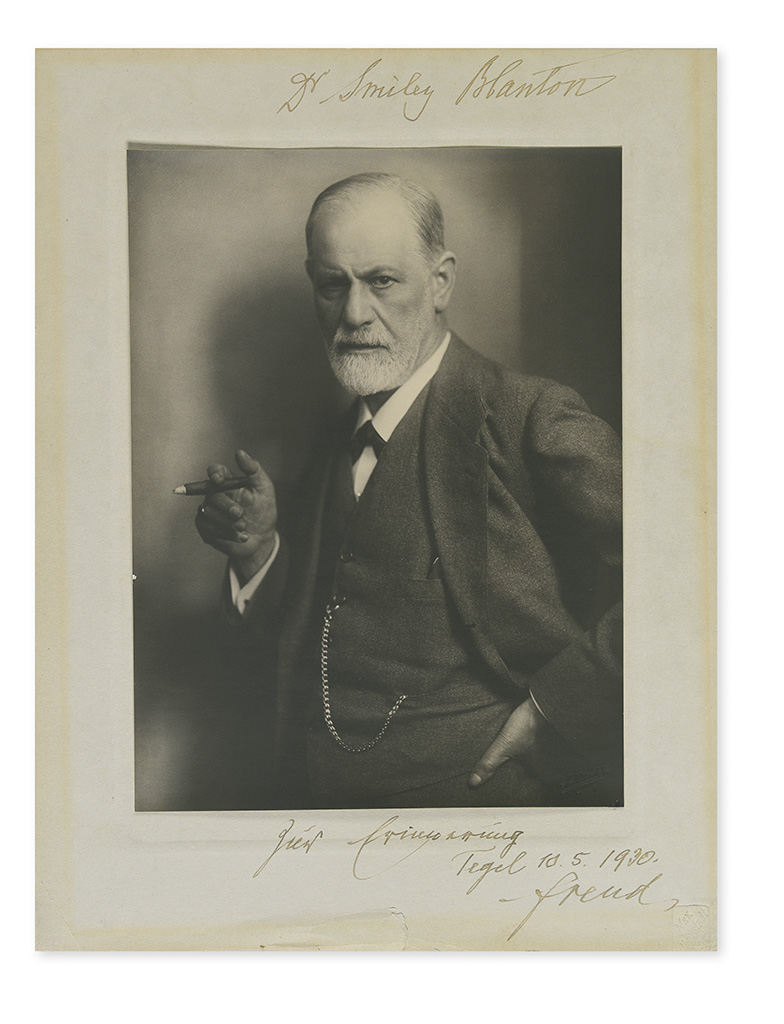 FREUD, SIGMUND. Photograph Signed and Inscribed, Dr. Smiley Blanton / . . . For Remembrance / . . . Freud, in German,