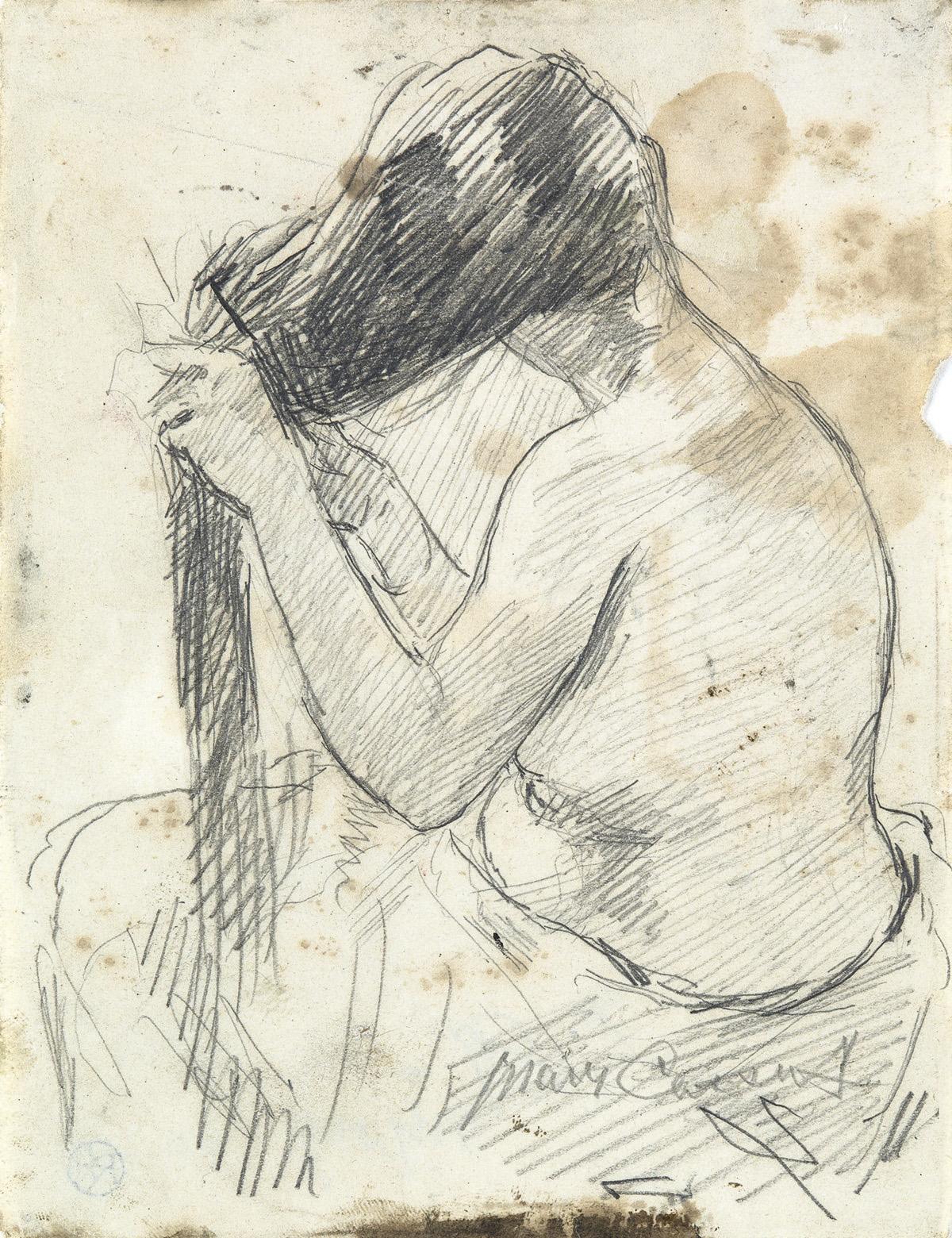 MARY CASSATT Nude Brushing her Hair.