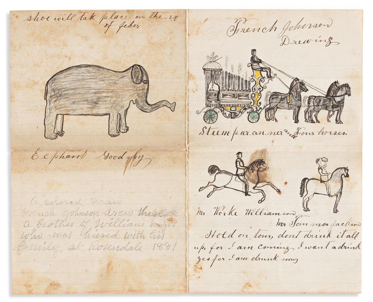 (ART.) French Johnson, artist. Folk art drawings done by a Virginia farm hand.