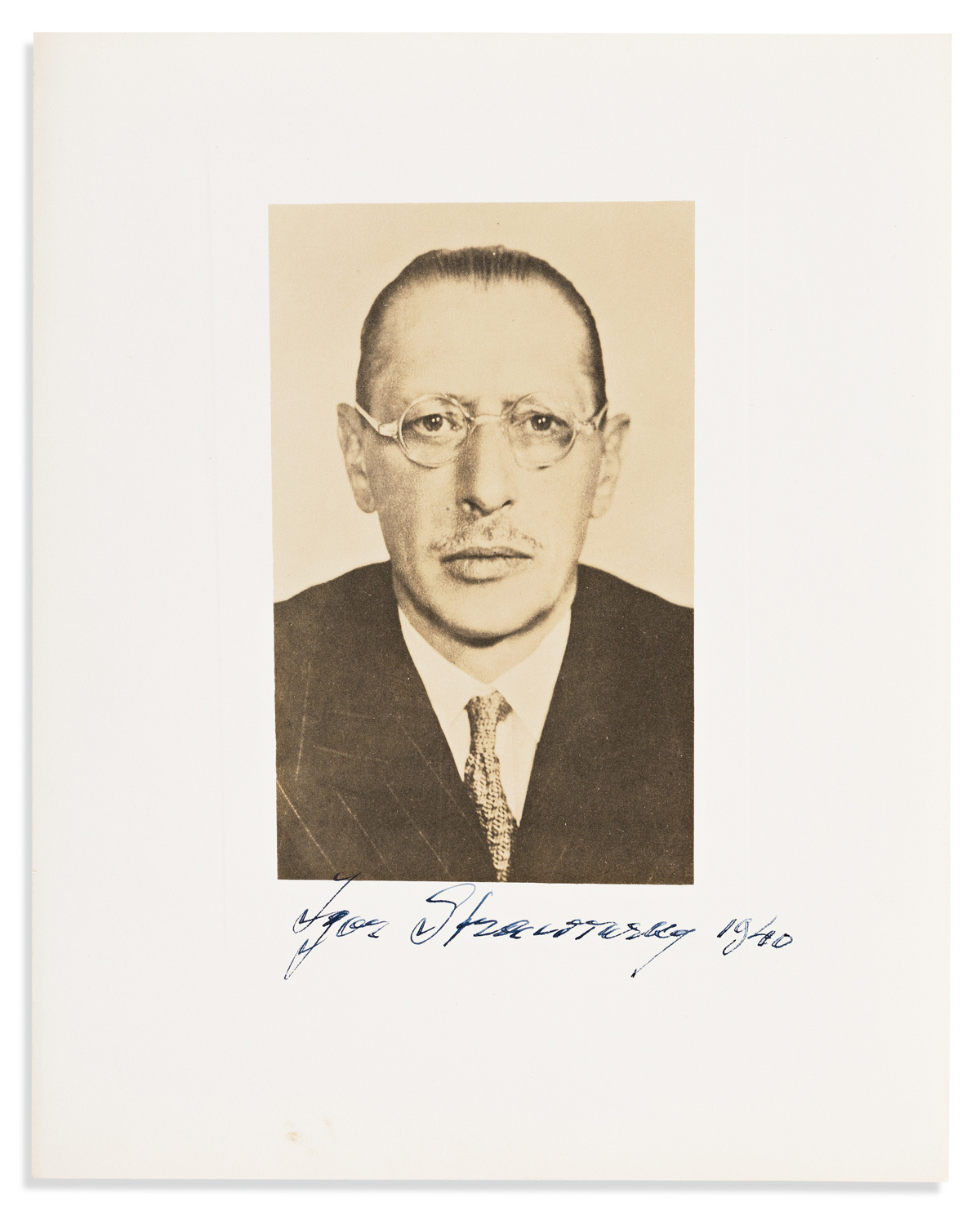 STRAVINSKY, IGOR. Photograph dated and Signed,