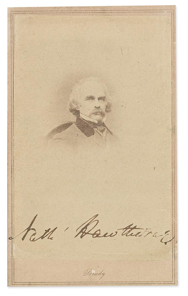 HAWTHORNE, NATHANIEL. Photograph Signed, Nath Hawthorne,