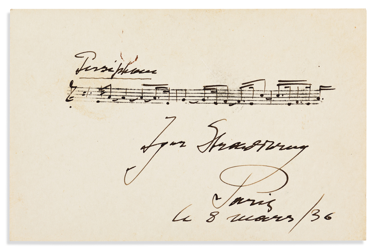 STRAVINSKY, IGOR. Autograph Musical Quotation Signed, three bars from Perséphone,