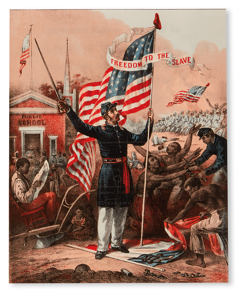 (MILITARY--CIVIL WAR.) LINCOLN, ABRAHAM All Men were Made Freemen by Abraham Lincoln . . . Come then Able Bodied Colored Men, and Fight
