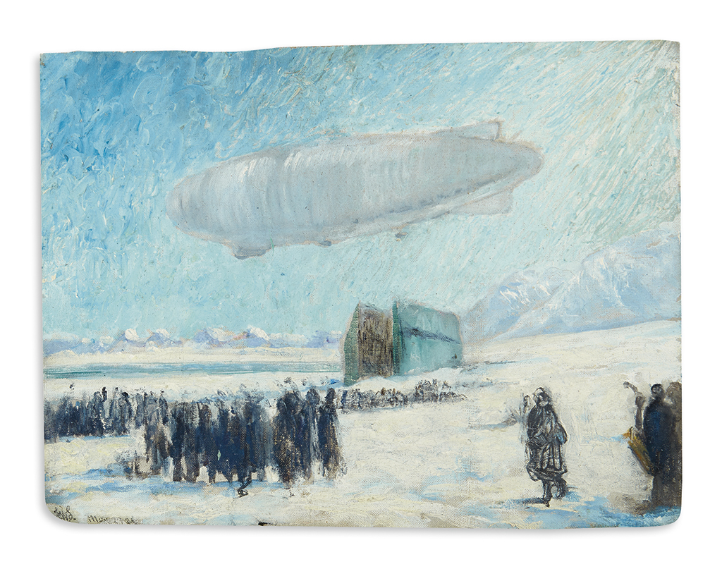 (ARCTIC.) Stokes, Frank Wilbert. The Departure of the Norge for the North Pole from Kings Bay, Spitsbergen, 80th North Lat.
