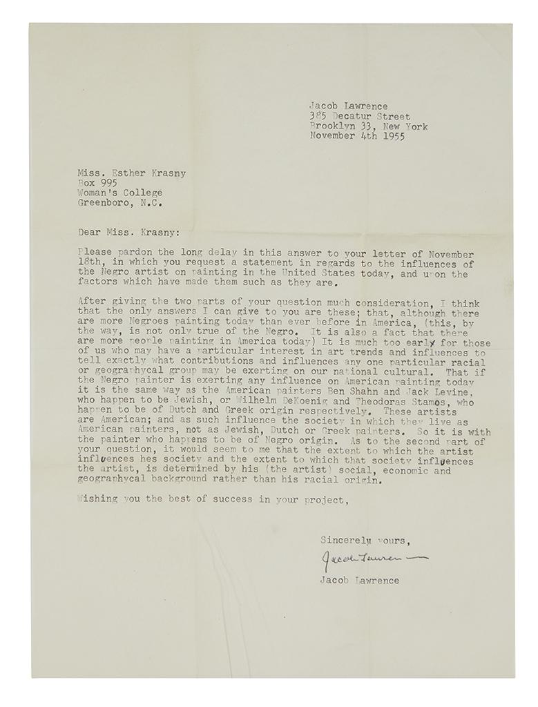 LAWRENCE, JACOB. Typed Letter Signed, to Esther Krasny (Dear Miss Krasny),
