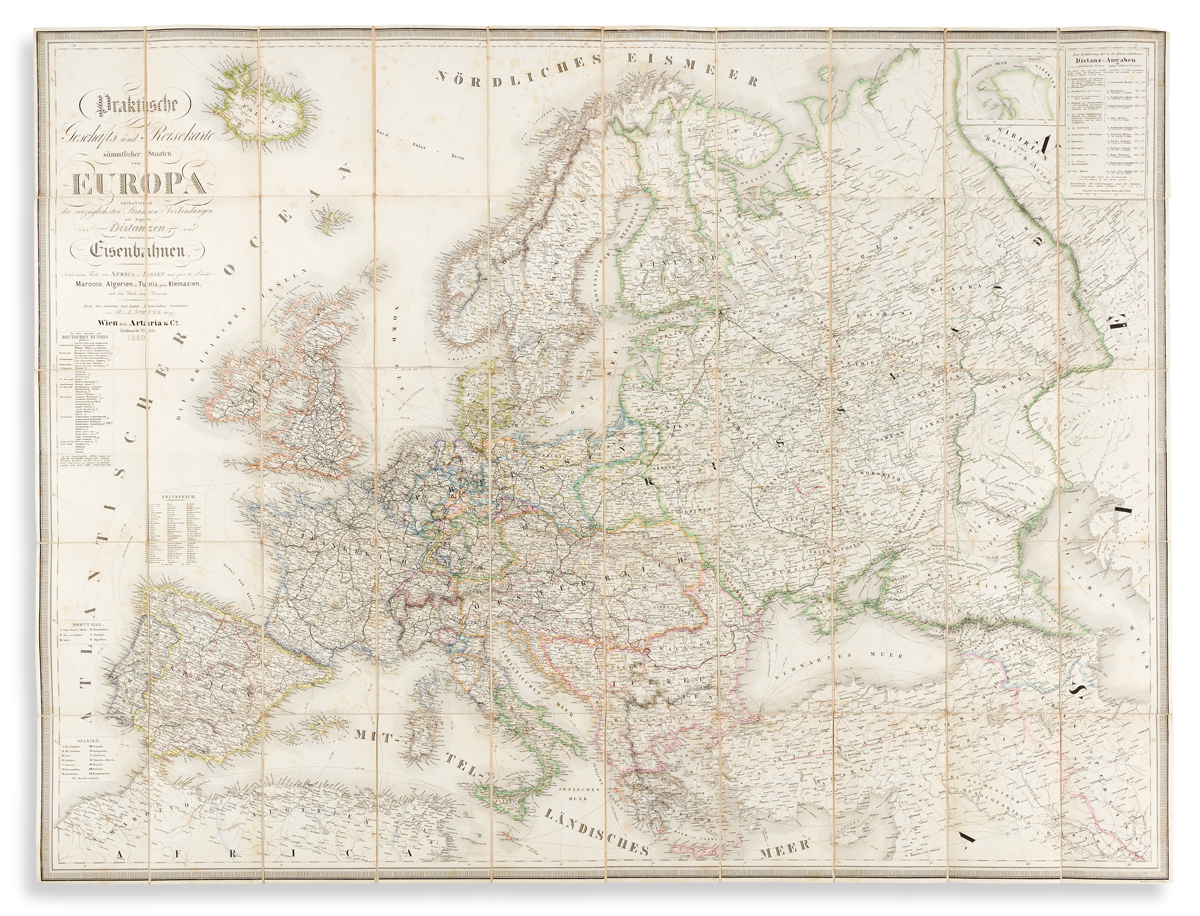 (EUROPE.) R.A. Shulz. Praktische Geschafts und Reisekarte Sammtlicher Staaten von Europa.