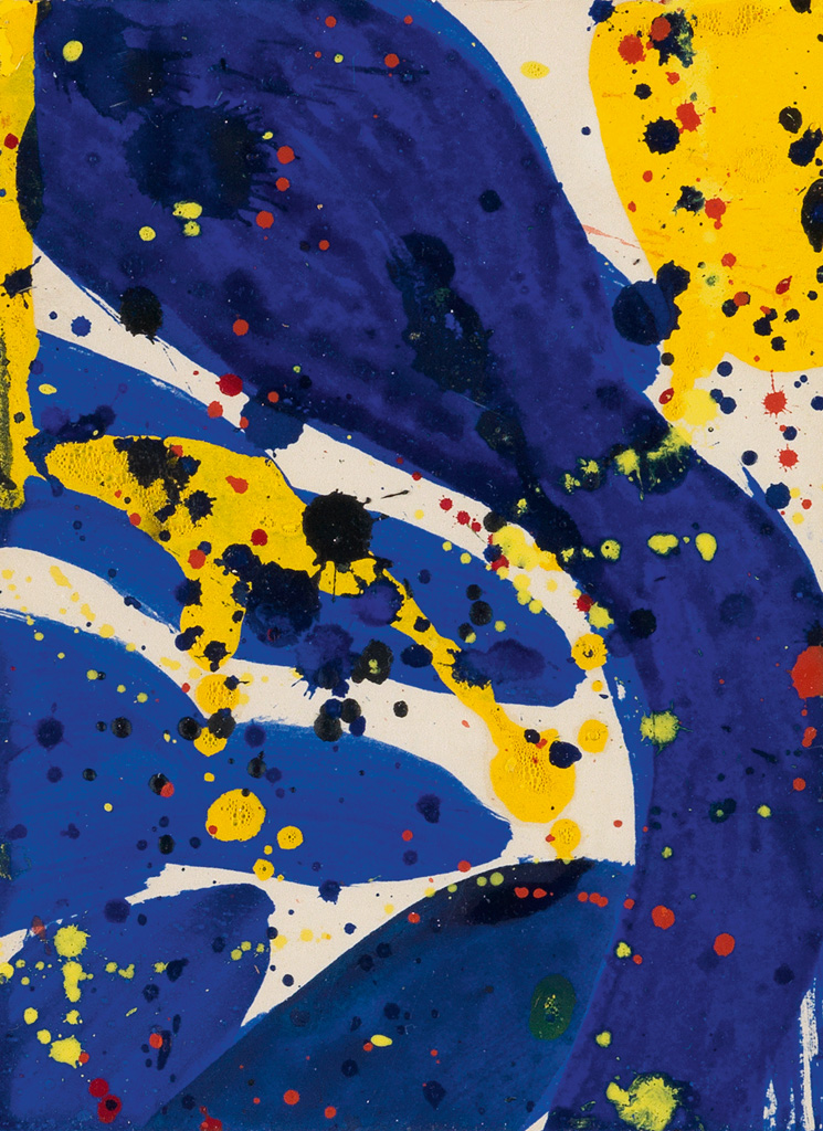 SAM FRANCIS Abstract Blue, Yellow and Red.