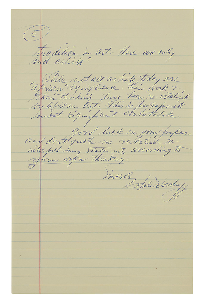 WOODRUFF, HALE. Illustrated Autograph Letter Signed, with 6 ink drawings, to Esther Krasny (Dear Miss Krasny),