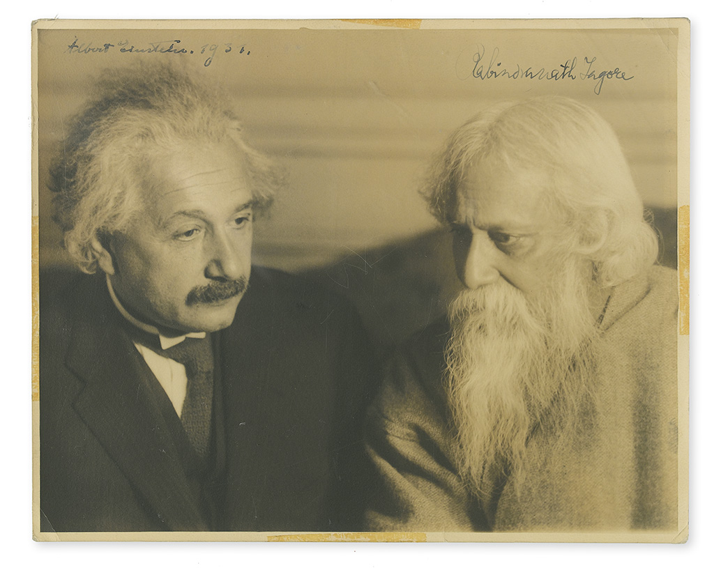 EINSTEIN, ALBERT; AND RABINDRANATH TAGORE. Photograph Signed, by both, additionally dated by Einstein,