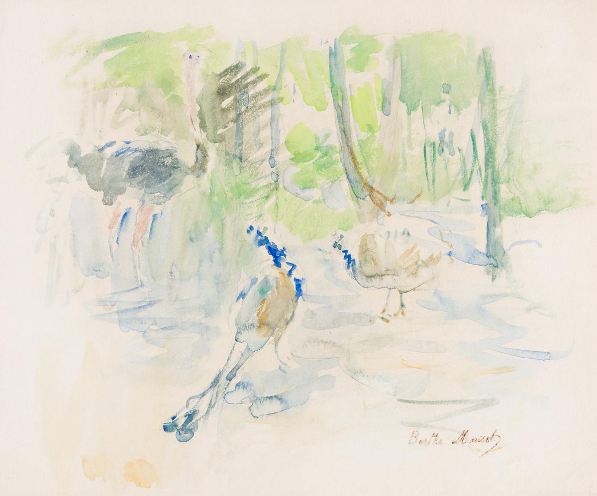 BERTHE MORISOT Autruches et Paons au Jardin dAcclimatation.