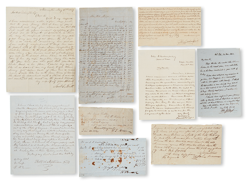 (SLAVERY AND ABOLITION---MOUNT VERNON.) WASHINGTON, JOHN AUGUSTINE. Group of 16 letters from various individuals connected or related t