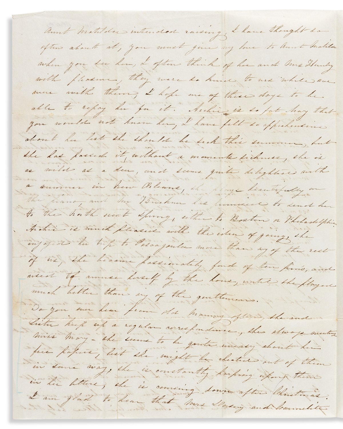 (SLAVERY AND ABOLITION.) Letter discussing a manumitted servant who is quite uneasy about her free papers.