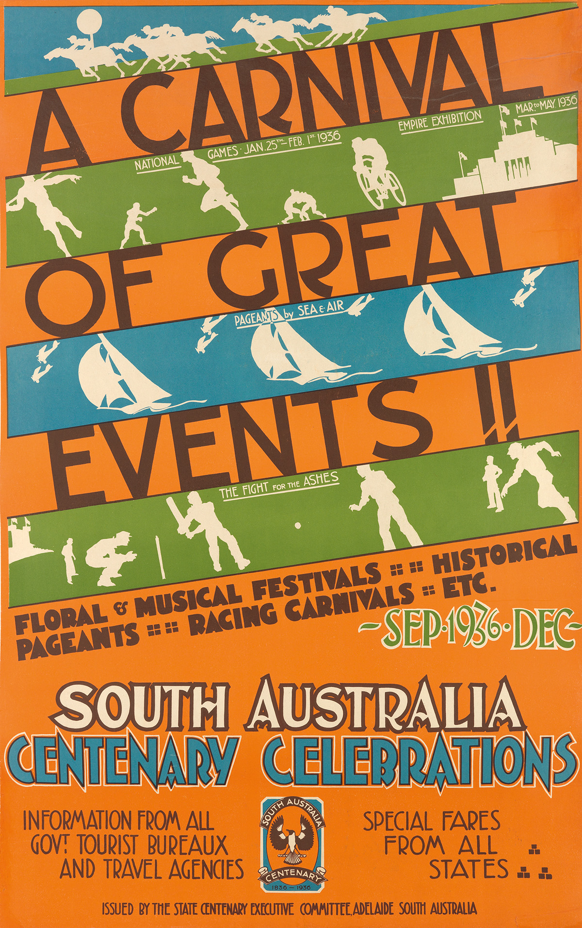 DESIGNER-UNKNOWN-A-CARNIVAL-OF-GREAT-EVENTS--SOUTH-AUSTRALIA-CENTENARY-CELEBRATIONS-1936-39x25-inches-101x63-cm