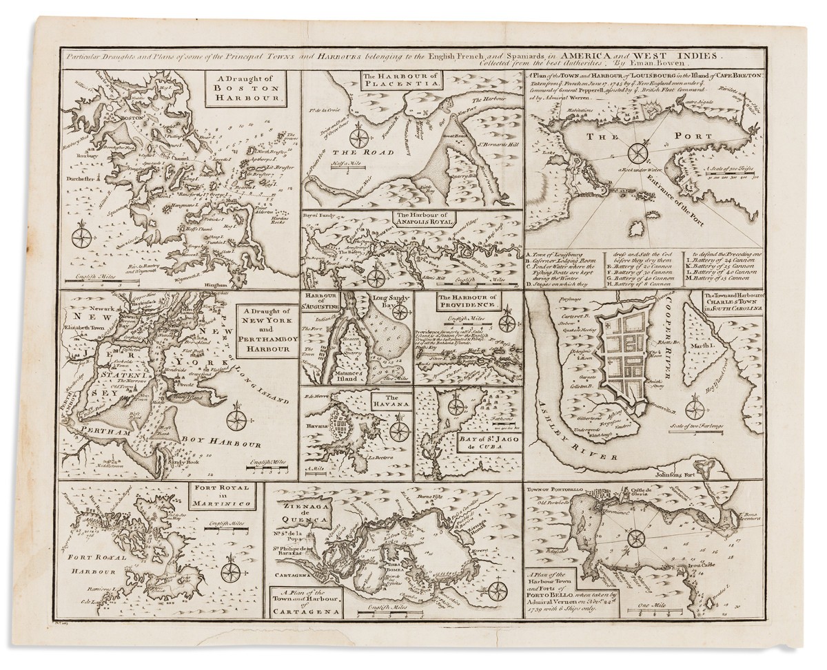 BOWEN, EMANUEL. Particular Draughts and Plans of Some of the Principal Towns and Harbours Belonging to the English,