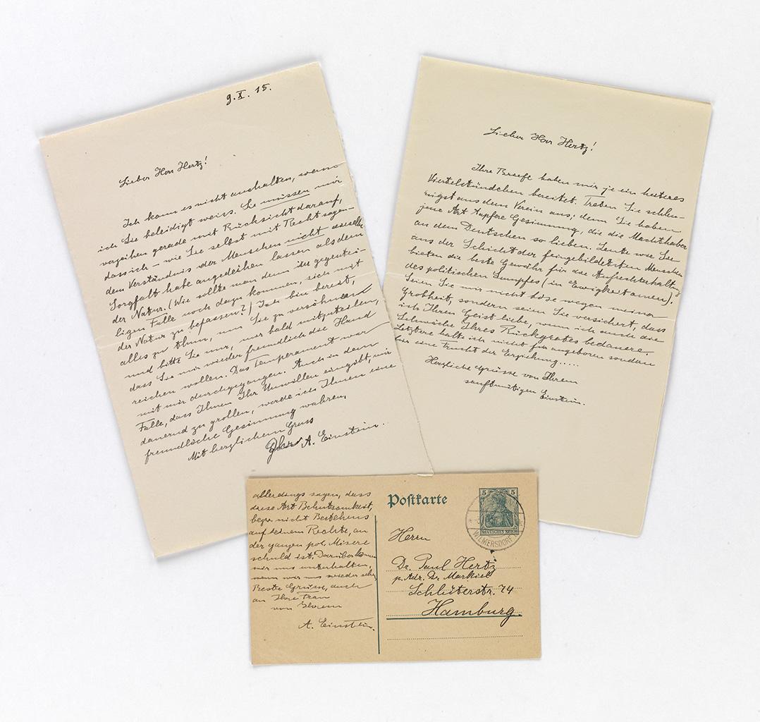 EINSTEIN, ALBERT. Three items Signed, Einstein or A. Einstein, each to Paul Hertz, in German: two Autograph Letters * Autograph Pos