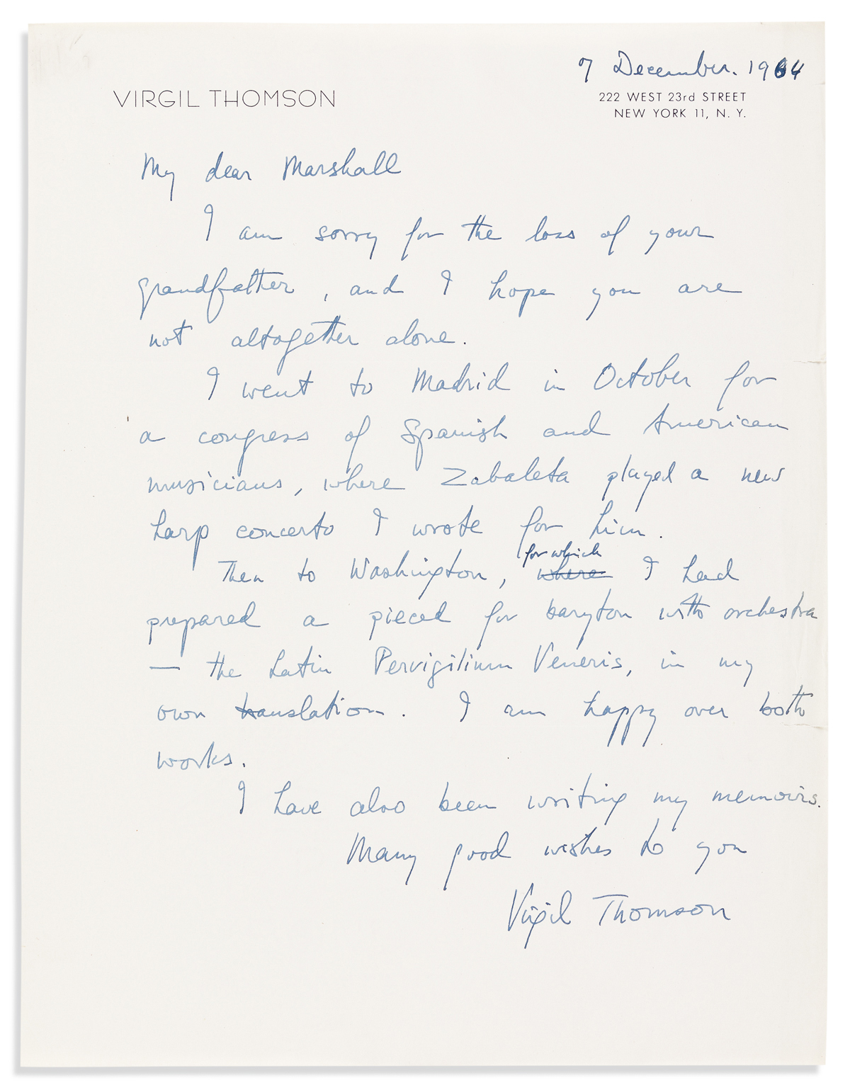 THOMSON, VIRGIL. Two letters: Typed Letter Signed * Autograph Letter Signed.