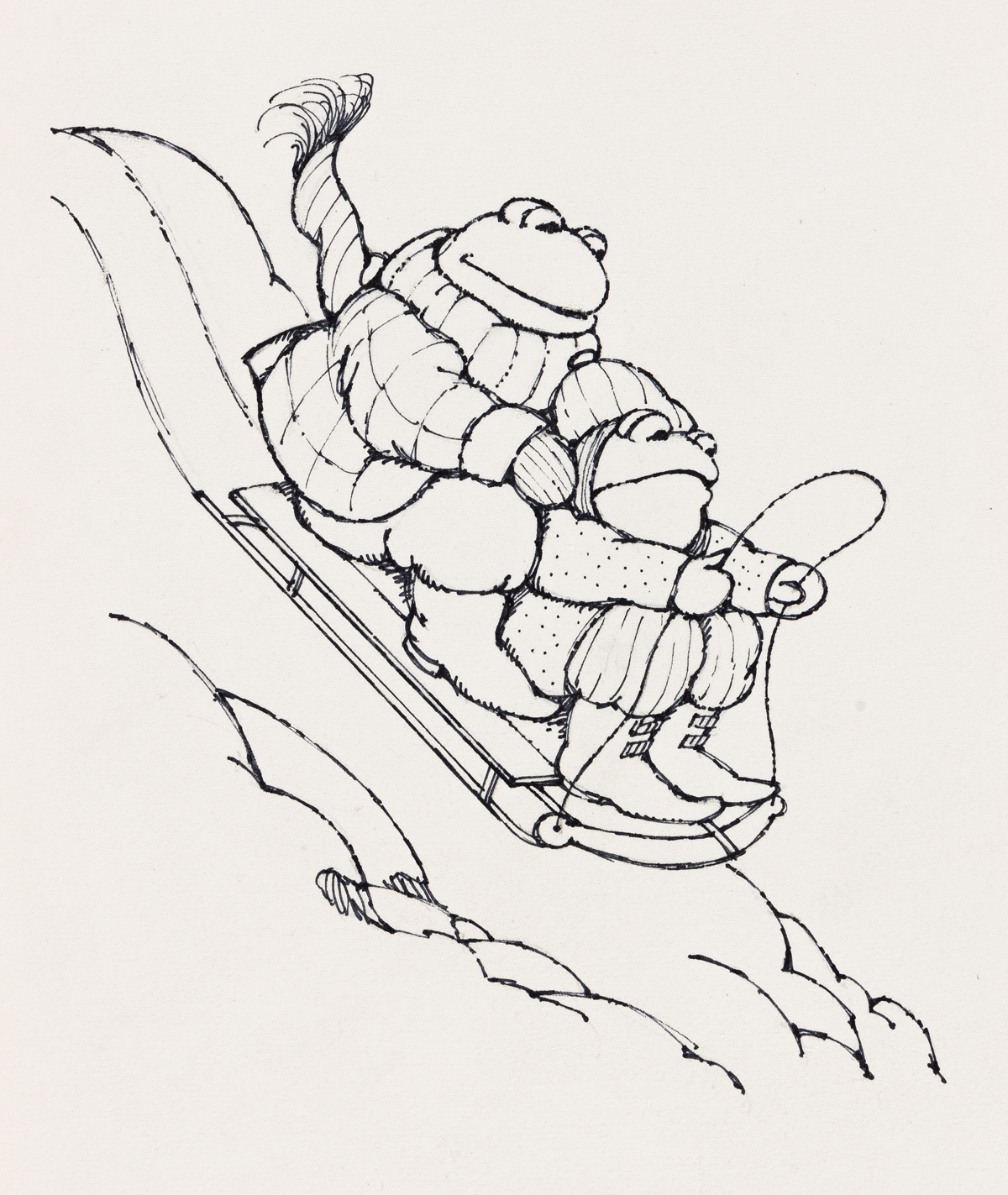 ARNOLD LOBEL (1933-1987) The sled began to move down the hill. [CHILDRENS]