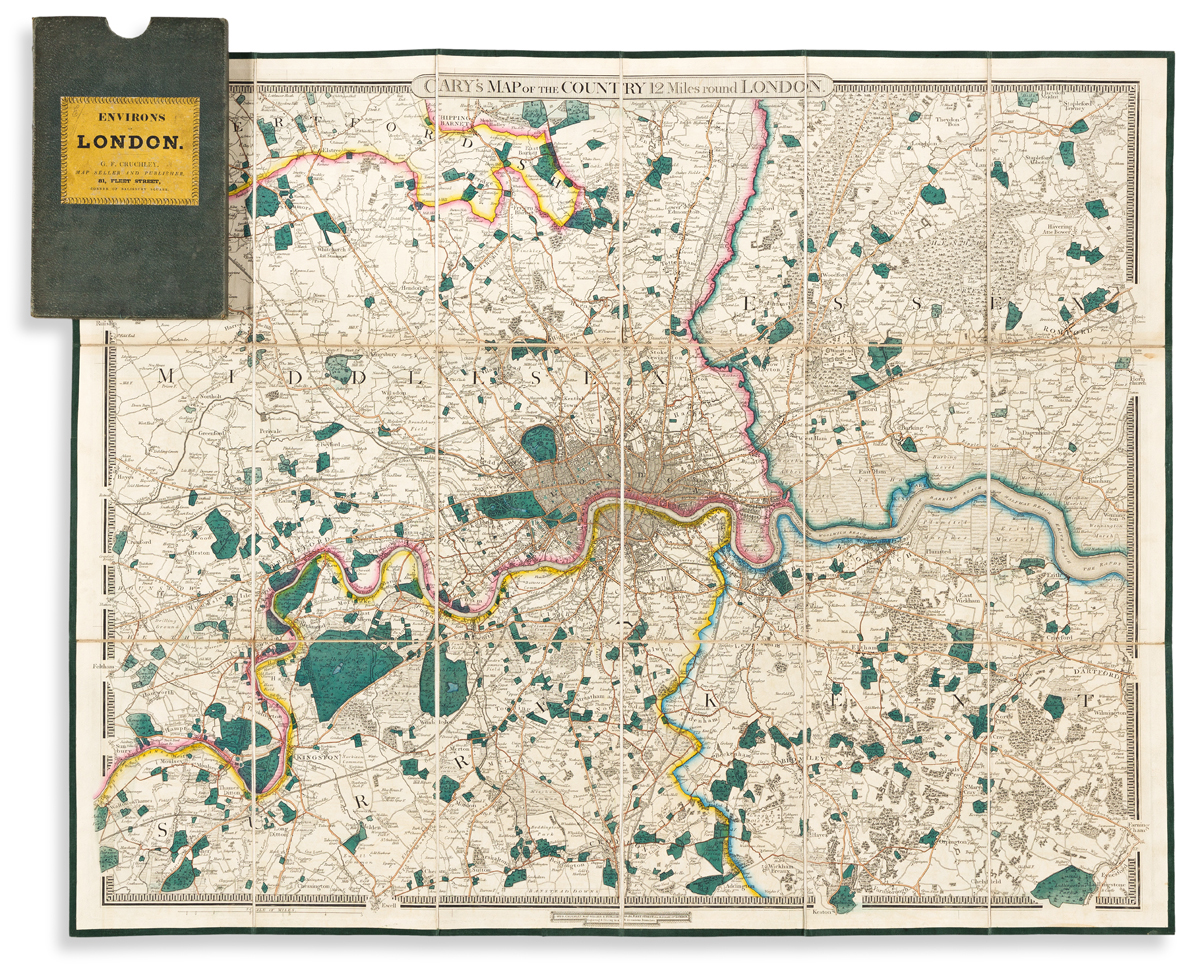 (LONDON.) Cary (family); sold by G.F. Cruchley. Carys Map of the Country 12 Miles Round London.