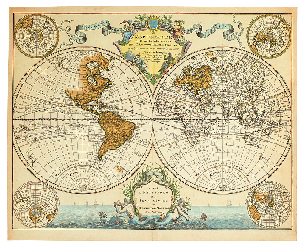 COVENS, JOHANNES; and MORTIER, CORNELIS. Mappe-Monde Dressee sur les Observations de Mrs. de lAcademie Royale des Sciences.