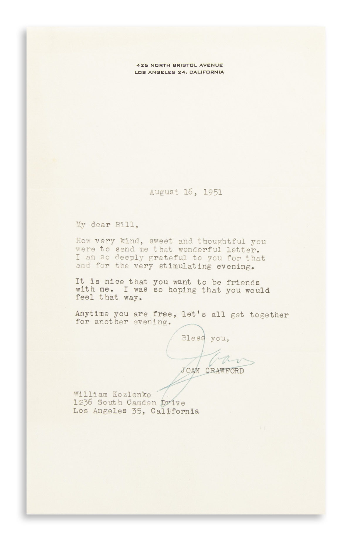 CRAWFORD-JOAN-Small-archive-of-12-Typed-Letters-Signed-Joan-