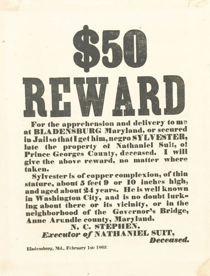 (SLAVERY AND ABOLITION--MARYLAND.) $50 Reward for the apprehension and delivery to me at Bladensburg, Maryland, or secured in Jail so t