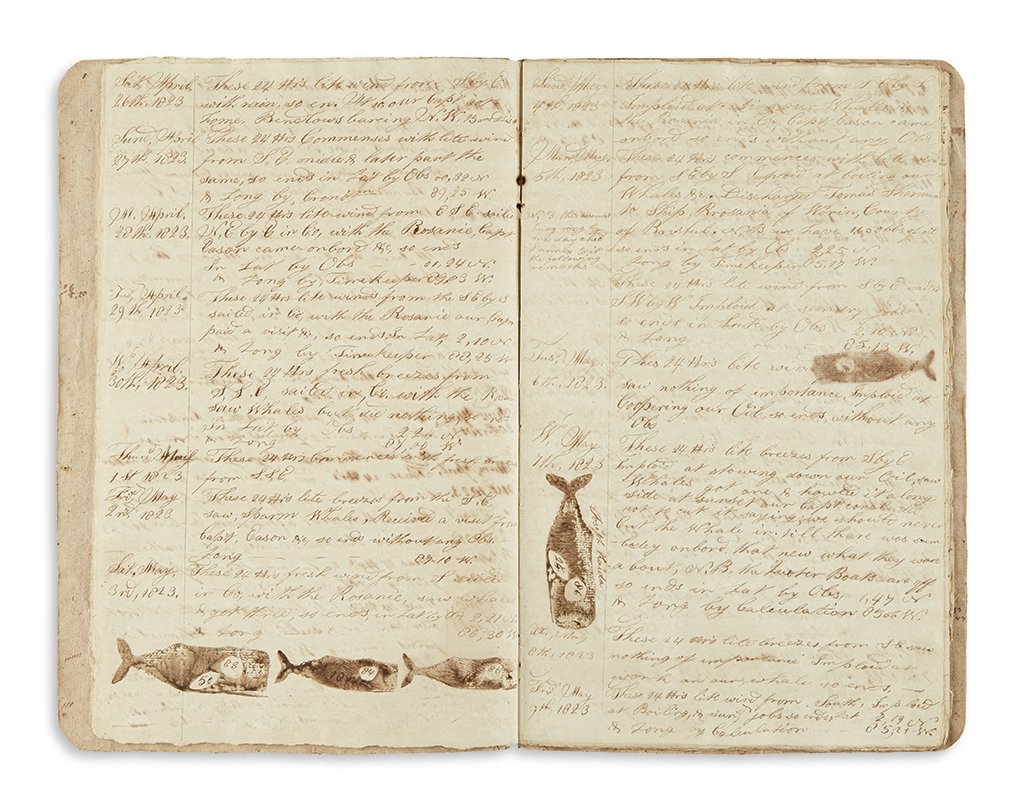 (WHALING.) Smith, Tisdale. Journal of a New Bedford whaling voyages closing months along the South American coast and homeward.