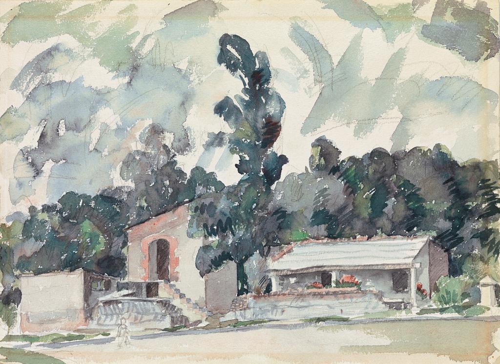 AARON DOUGLAS (1898 - 1979) Adobe Houses.