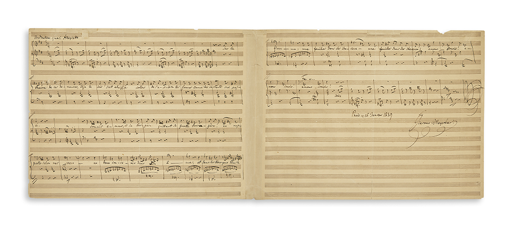 MEYERBEER-GIACOMO-Autograph-Musical-Manuscript-dated-and-Sig