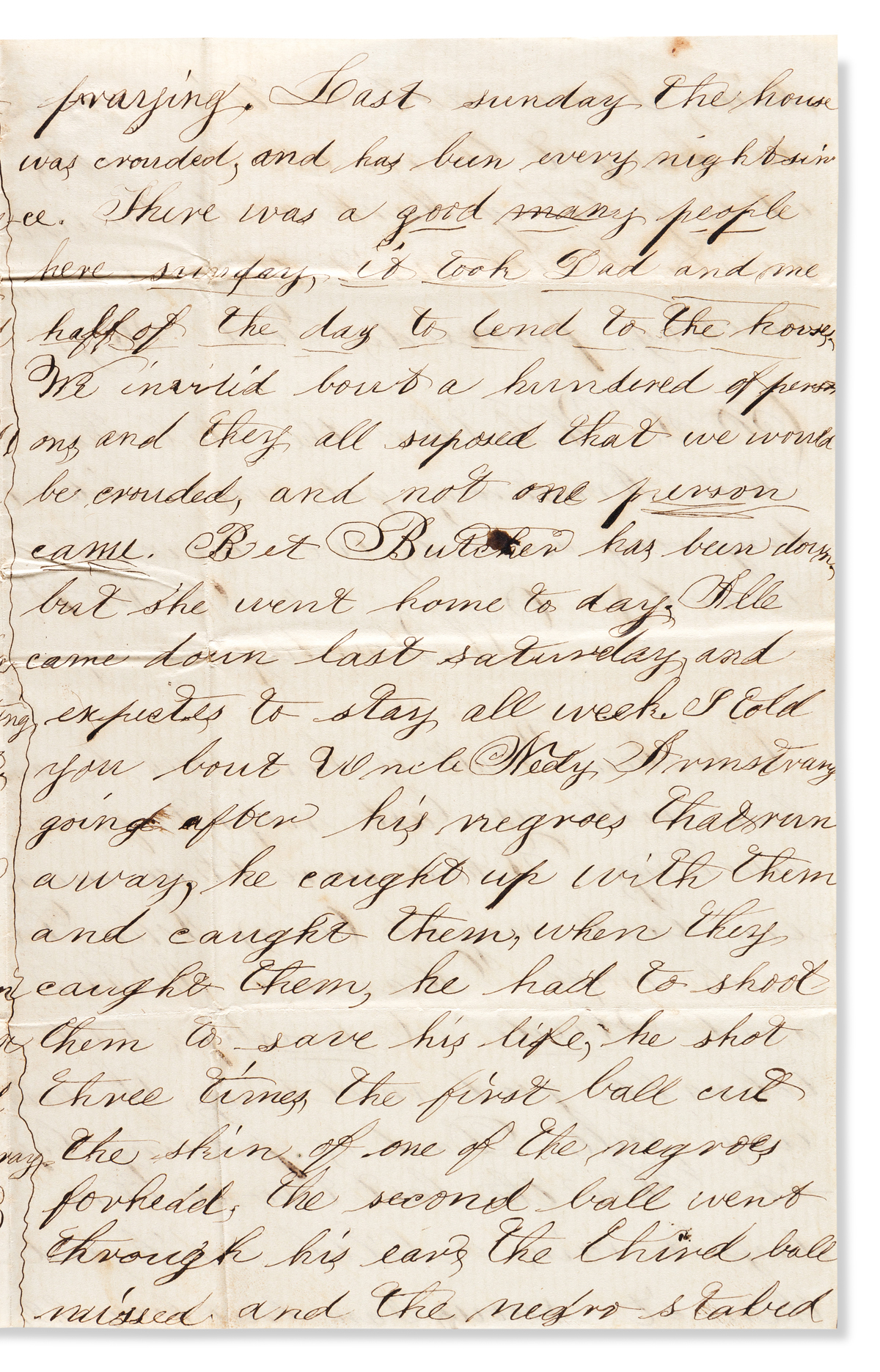 (SLAVERY AND ABOLITION.) Jasper L. Hall. Letter describing the defeat of slave catchers in a pitched battle with ten fugitives.